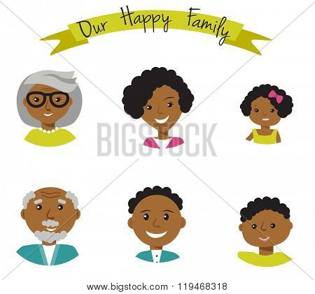 Happy African American family faces portraits of six members: parents,their son and daughter, and grandparents. Vector illustration