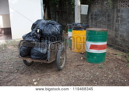 Pile Of Black Bags Garbage Prepare Waste Disposal