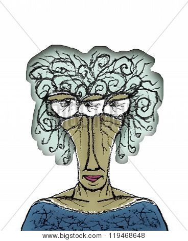 Old Woman Portrait Caricature Drawing