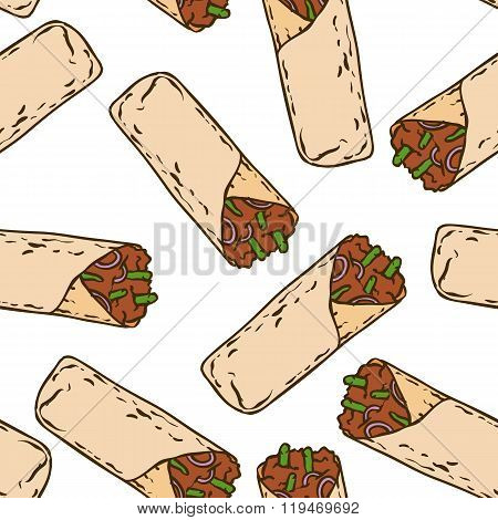 Seamless Pattern with Tasty Mexican Burrito