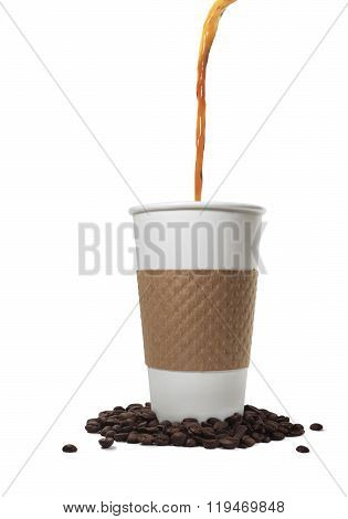 Coffee Pouring Into A Paper Takeout Cup