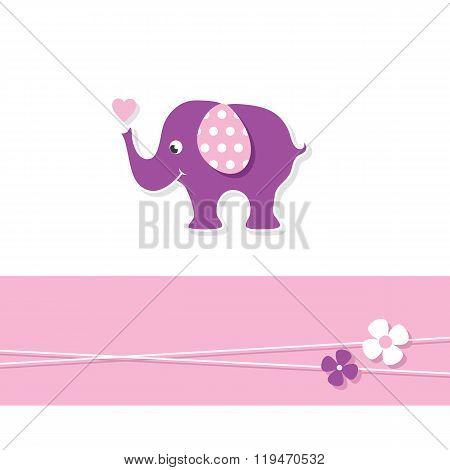 purple baby girl elephant greeting card