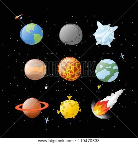 Planet Set Dark Background. Dark Space.  Planets Of Solar System By Having  Cartoon Style. Earth, Ju