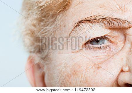 Close up of senior woman's eye