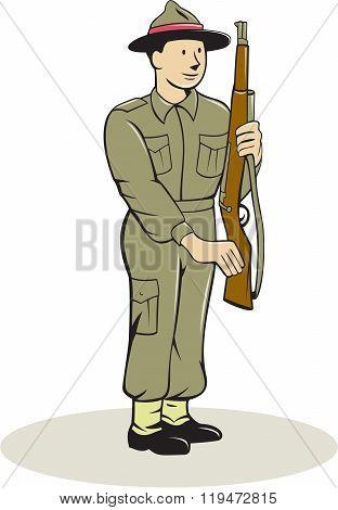 British World War Ii Soldier Presenting Arms Cartoon