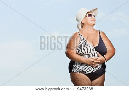 Senior woman wearing a swimming costume
