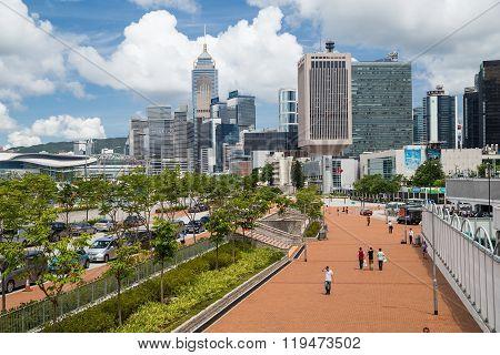 Hong Kong, Sar China - Circa July 2015: Office Buildings And Waterfront Of Hong  Kong