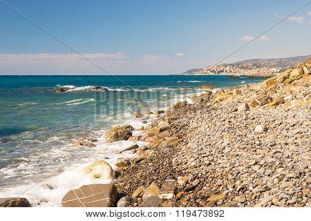 Pebbly Beach With Splashing Water, Liguria Riviera, Italy