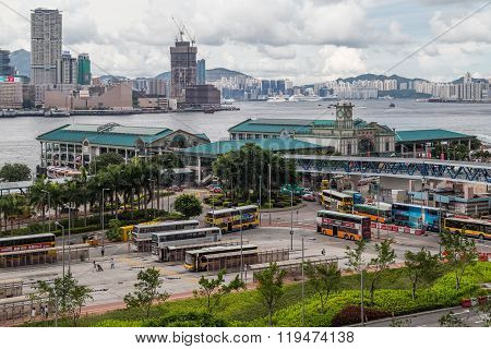Hong Kong, Sar China - Circa July 2015: Central Ferry Pier And Hong Kong Maritime  Museum
