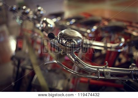 Red Retro Bicycle On Street, Abstract Blur Image Background