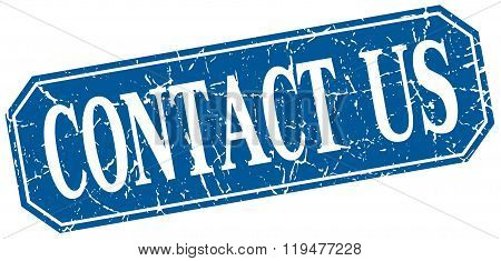 Contact Us Blue Square Vintage Grunge Isolated Sign