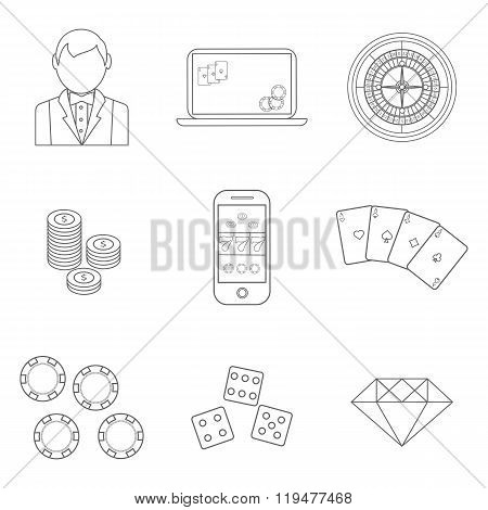 Thin line poker or casino icons set - vector gambling symbols.
