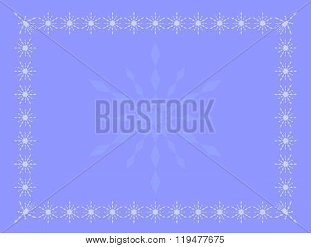 Pale blue winter background (theme, card) with snowflakes in different shades of blue