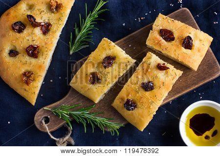 Italian Focaccia Bread With Sun Dried Tomatoes, Rosemary And Sea Salt