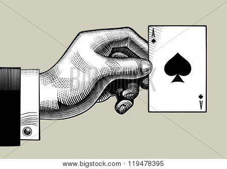 Hand with the ace of Spades playing card. Vintage engraving stylized drawing. Vector illustration