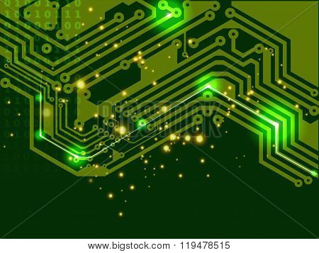abstract digital sign of electronic printed circuit board (PCB) in green.
