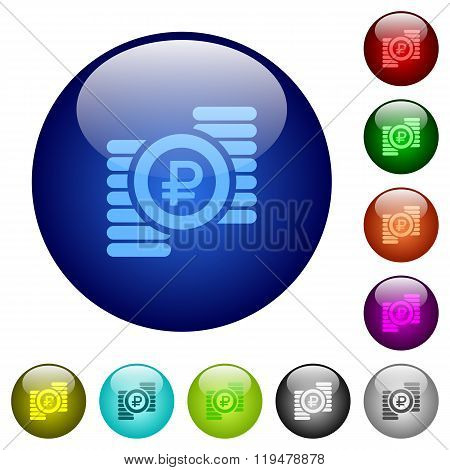 Color Ruble Coins Glass Buttons