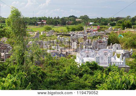Hue, Vietnam - Circa September 2015: Vietnamese Cemetery Near Thien Mu Pagoda In Hue, Vietnam