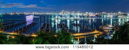 Pattaya, Thailand - Circa August 2015: Skyline Of Pattaya, Thailand With Bay And Boats By  Night