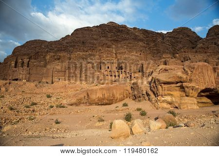View of the Nabataean city Petra Jordan at sunset