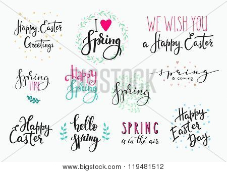 Hello Spring Happy Easter Lettering Typography Set