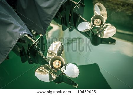 Two Boat Engine With Propeller Details Shot