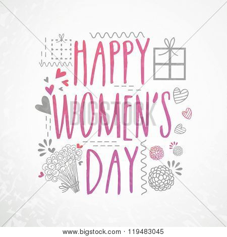 Elegant greeting card design with stylish text Happy Women's Day on grey background.