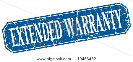 Extended Warranty Blue Square Vintage Grunge Isolated Sign