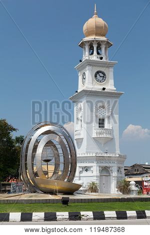 Georgetown, Penang/malaysia - Circa October 2015: Queen Victoria Memorial Clocktower In Georgetown,