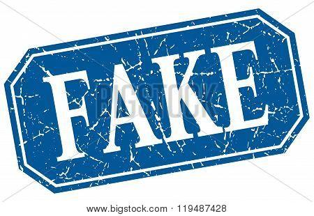 Fake Blue Square Vintage Grunge Isolated Sign