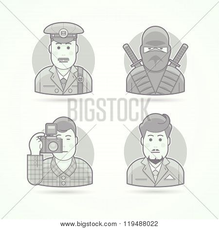 Postman, ninja warrior, photographer, business man icons. Set of character portrait vector illustrat