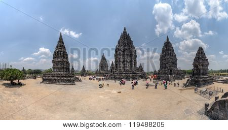 Yogyakarta, Indonesia - Circa September 2015: Panorama Of Prambanan Hindu Temple Complex, Java,  Ind