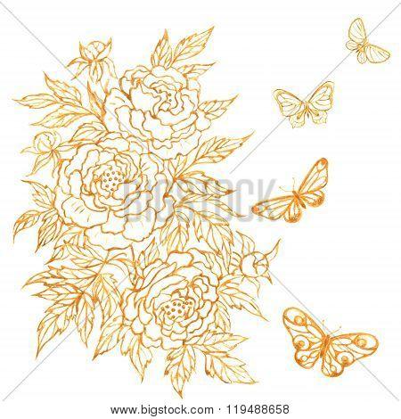 Goldish Flower And Batterflies.