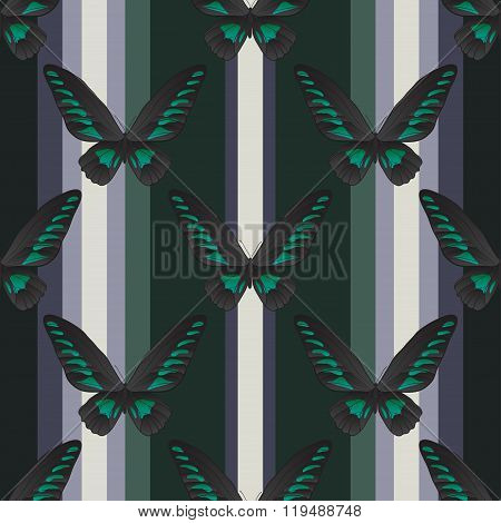 Seamless vertical retro pattern with butterfly