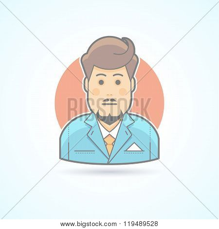 Clerk, Suitman, Agent Icon. Avatar And Person Illustration. Flat Colored Outlined Style.