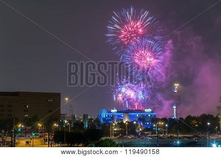 Houston, Tx/usa - Circa July 2013: Independence Day Fireworks Above Downtown Houston,  Texas