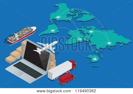 Global logistics network Concept of air cargo trucking rail transportation maritime shipping customs