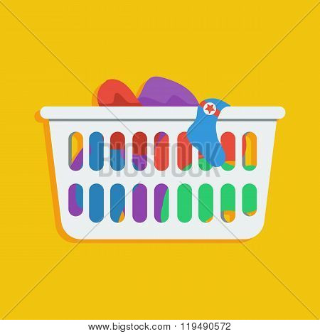 Laundry basket vector icon illustration