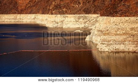 Low Water Level Of Lake Mead Reservoir At Hoover Dam