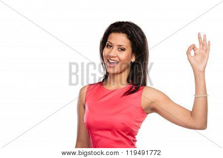 Pretty Woman Girl Giving Ok Sign Gesture.