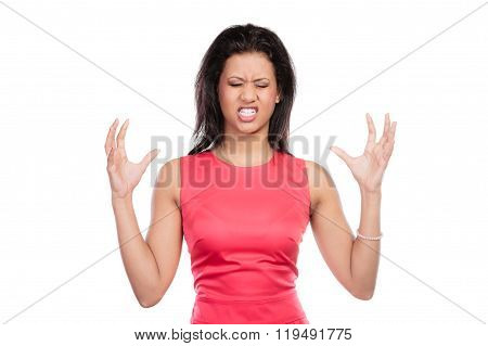Angry Mixed Race Woman Screaming.