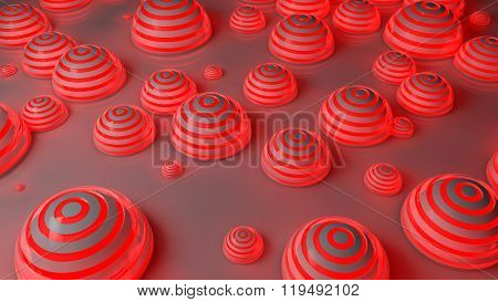 red futuristic spheres background