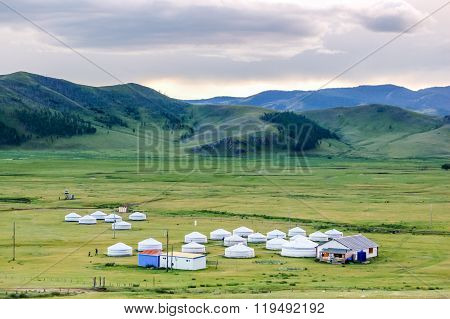 Mongolian Yurts On Steppe