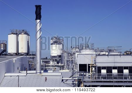 Modern Factory Industrial Plant, Stainless Steel Cooling Tower And Pipelines