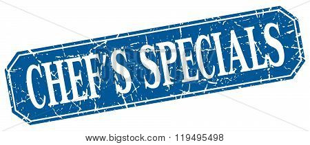 chef's specials blue square vintage grunge isolated sign