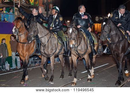 New Orleans, La/usa - Circa March 2011: Mounted Police Riding Horses During Mardi Gras In New Orlean