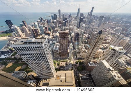 Chicago, Il/usa - Circa July 2015: View Of Downtown Chicago From John Hancock  Tower