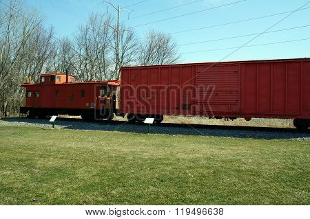 Antique Boxcar and Caboose