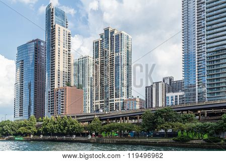 Chicago, Il/usa - Circa July 2015: High-rise Luxurious Residential Buildings In Downtown Chicago Alo