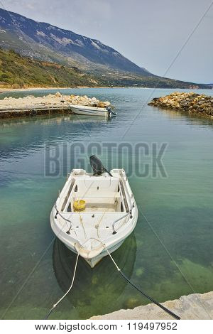 Old Boat at small port before storm, Kefalonia, Ionian islands, Greece